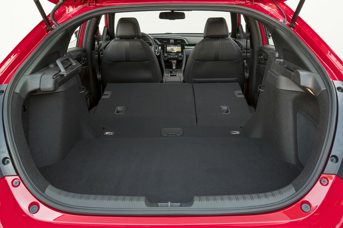 looking into the cargo area of the 2019 honda civic hatchback with 2nd row seat