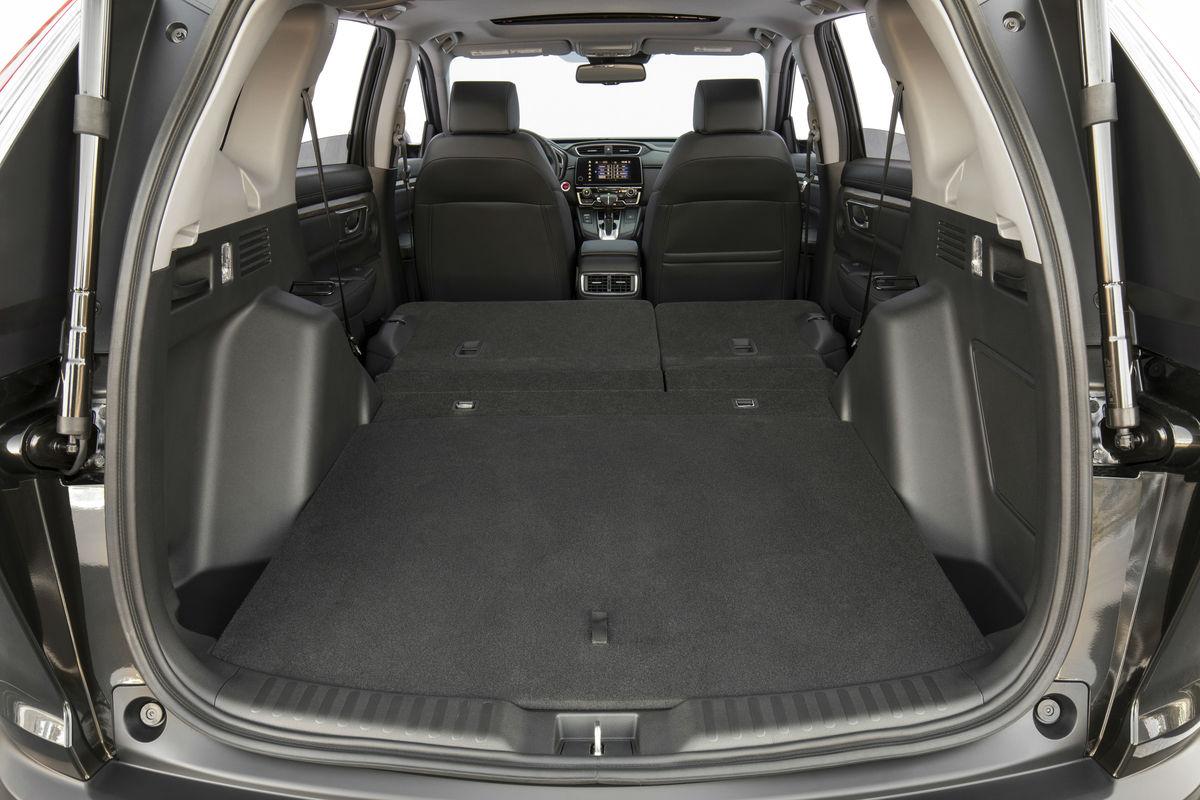 Rear seat folded flat for maximum cargo space in the 2019 Honda CR-V