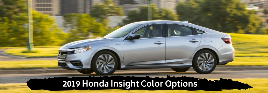 2019 Honda Insight Color Options, text beneath a driver side exterior view of a gray 2019 Honda Insight