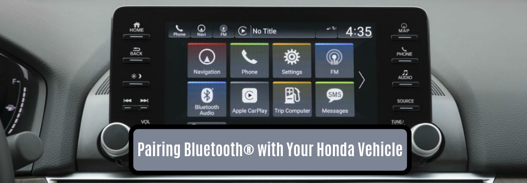 Pairing Bluetooth with Your Honda Vehicle, text on an image of the touchscreen in the 2019 Honda Civic Sedan