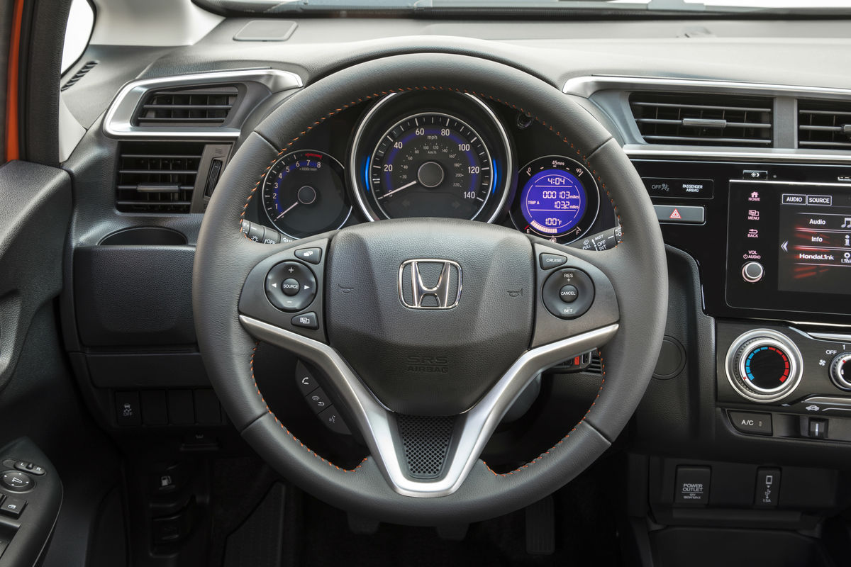 Steering wheel mounted controls and driver information cluster of the 2019 Honda Fit
