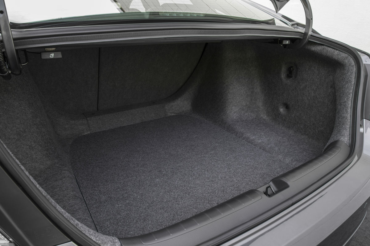 Looking into the empty trunk of the 2019 Honda Accord