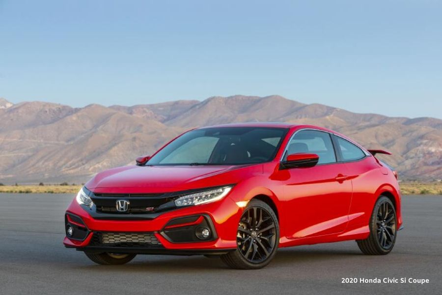 Red 2020 Honda Civic Si Coupe from exterior front drivers side in front of mountain
