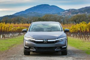 2020 Honda Clarity Plug-In Hybrid in front of mountain range