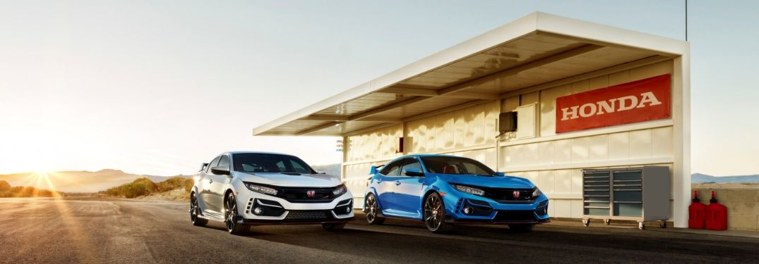 White and blue 2020 Honda Civic Type R models on track
