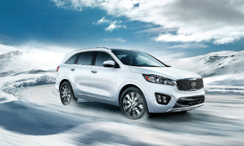 2018 Kia Sorento driving in snowy wilderness