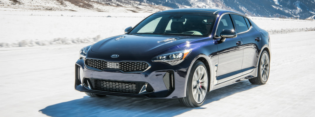2018 Kia Stinger GT Atlantica limited edition trim level parked in the snowy wilderness
