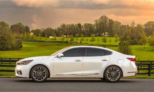 2019 Kia Cadenza exterior side shot with white paint color parked outside a lush countryside grass plain