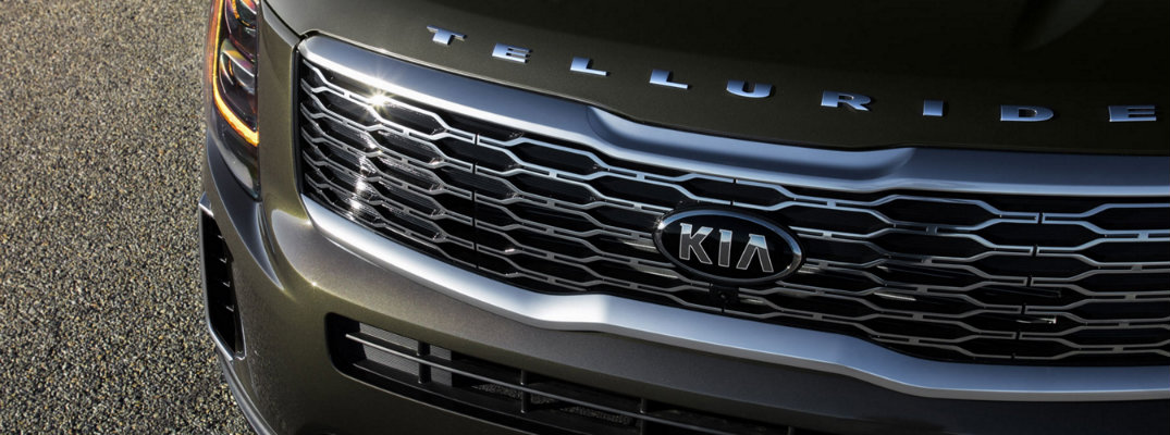 2020 Kia Telluride exterior shot closeup of hood and grille with model and brand tags
