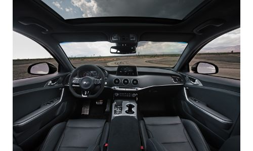 2019 Kia Stinger GTS special edition interior shot of front seating upholstery, dashboard design, and steering wheel