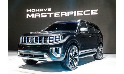 Kia Masterpiece concept exterior front shot with black paint color on stage at the 2019 Seoul Motor Show