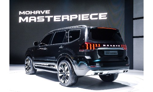 Kia Masterpiece concept exterior rear shot with black paint color on stage at the 2019 Seoul Motor Show