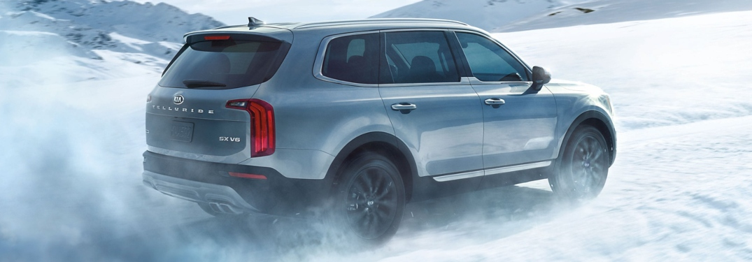 2020 Kia Telluride silver side view in snow