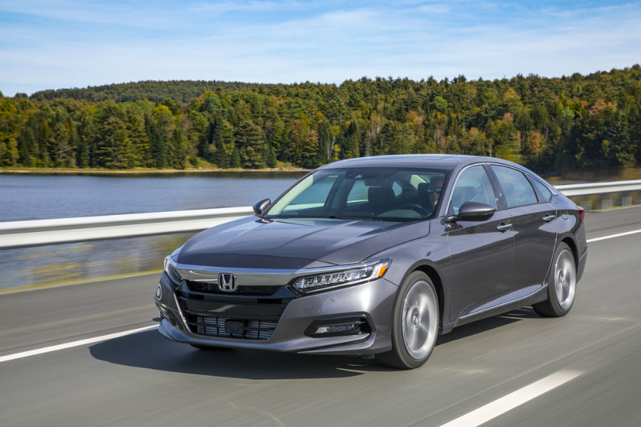 2018 honda accord touring driving in front of lake road