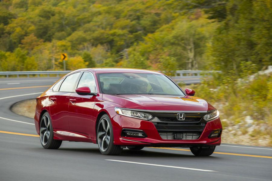 2018-Honda-Accord-2-0T-sport-driving-on-road-in-red-color_o - Covington  Honda