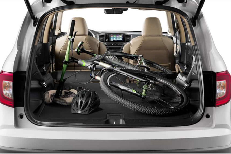 2019 Honda Pilot interior with bike in the cargo bay