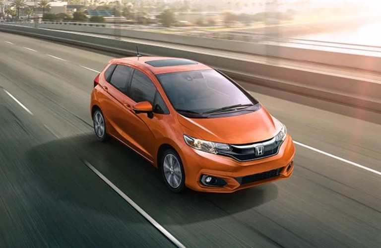2020 Honda Fit driving on a highway