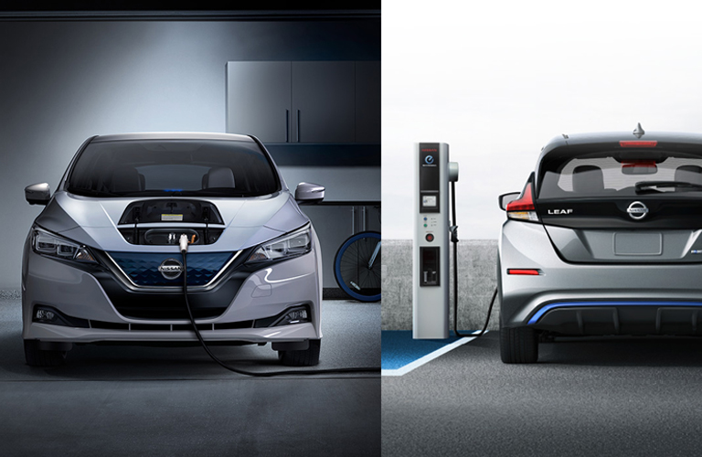 2018 nissan leaf filling up split screen of front and rear