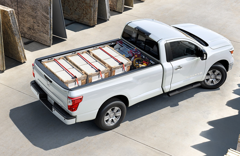 2018 nissan titan with bed fully loaded up parked