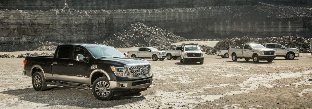 Nissan pickup trucks TITAN and TITAN XD on worksite