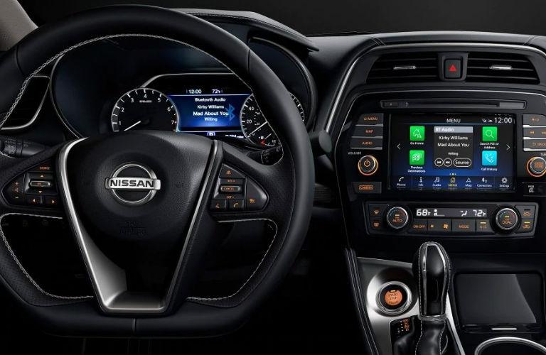 2019 Nissan Maxima steering wheel and dashboard in black