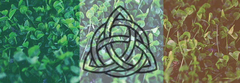 Irish trinity knot symbol superimposed on tricolor flag collage