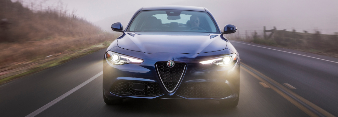 front view of blue 2019 alfa romeo giulia