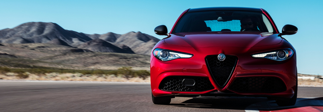 front view of red 2019 alfa romeo giulia