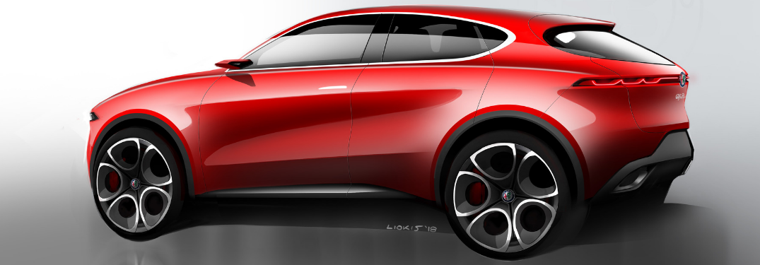 rear and side view of red alfa romeo tonale concept