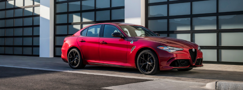side view of red 2019 alfa romeo giulia quadrifoglio