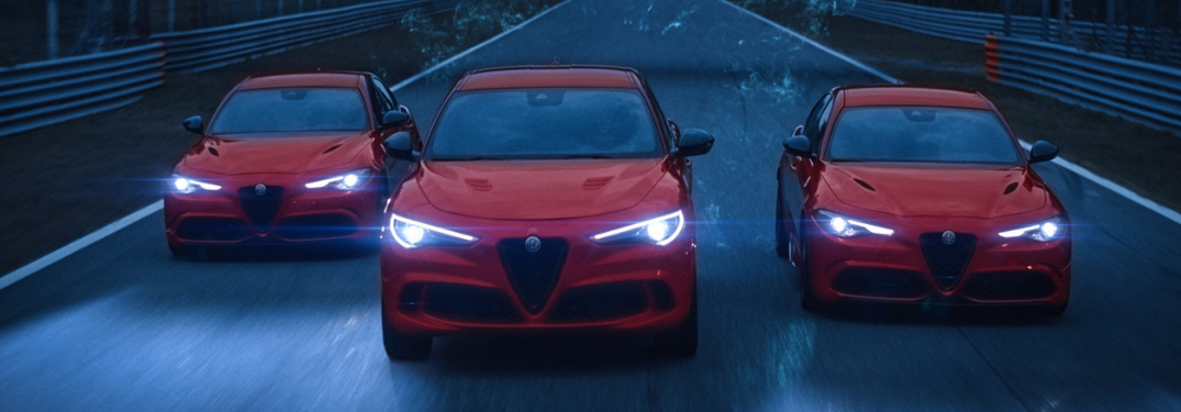 front view of three red 2019 alfa romeo giulia quadrigolios