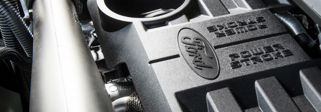 detail of 2018 ford f-150 power stroke diesel engine cover