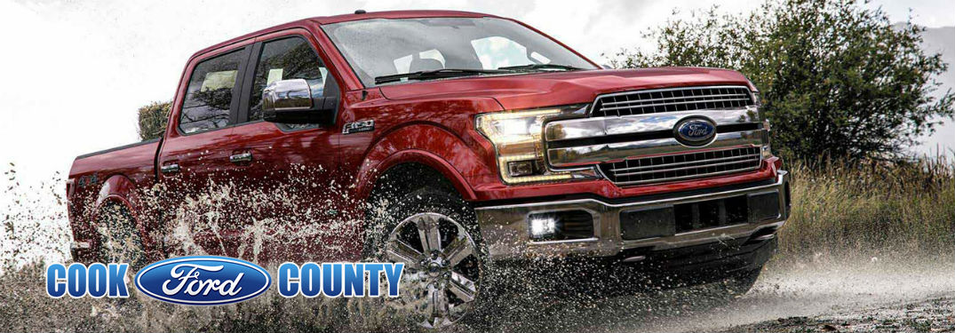 2018 Ford F-150 with image overlaid Cook County Ford logo