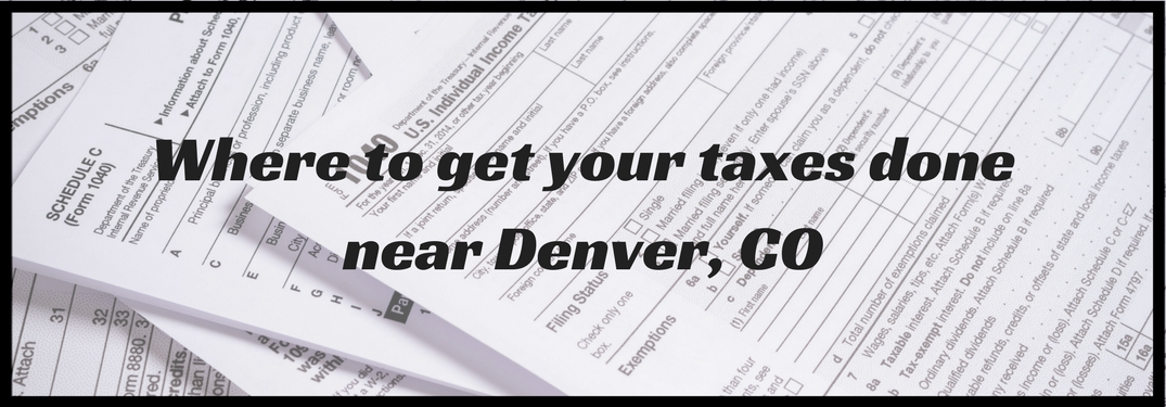 Where to get your taxes done in Denver CO overlaid on a pile of tax forms