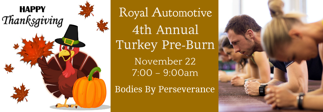 Thanksgiving Graphic with a Turkey, Description of Turkey Pre-Burn Event, and a Picture of People Exercising