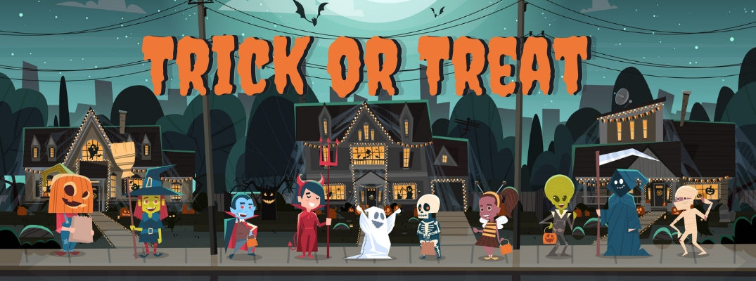 Trick or treat graphic with kids