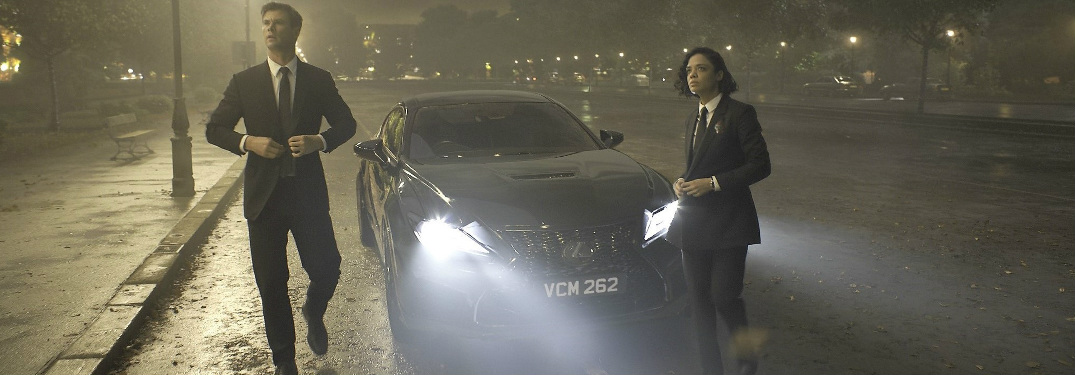 Lexus RC F sports coupe in a still from the Men In Black: International movie