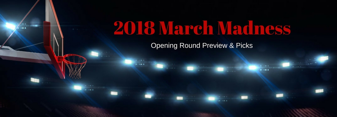 2018 March Madness Opening Round Previews & Predictions, text on an image of a basketball hoop in an empty arena