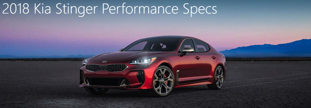 ... 2018 Kia Stinger Performance Specs With Image Of A Stinger Parked In  The Desert At Dusk