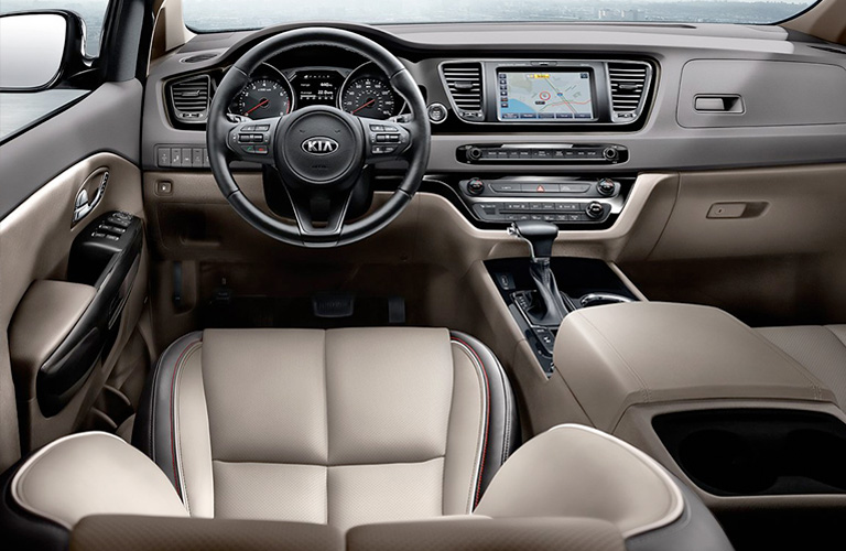 Interior front seat and front dash of 2020 Kia Sedona