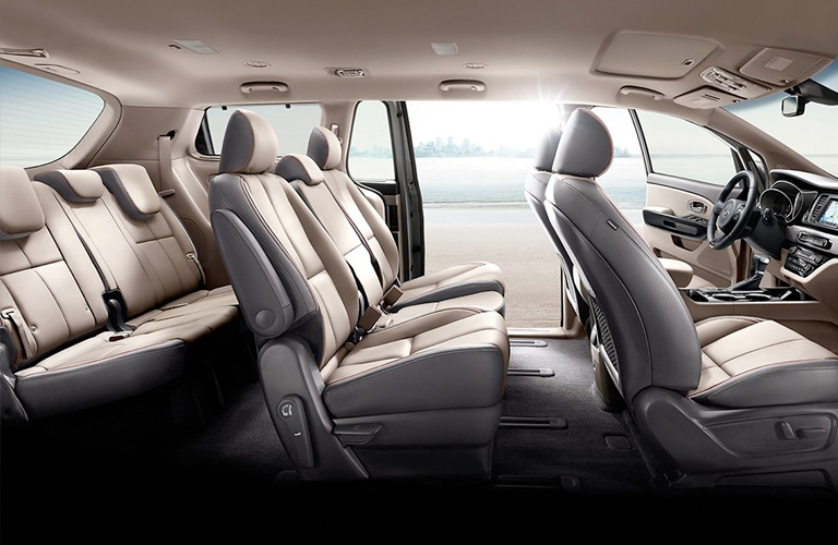 Interior seats from passenger side of 2020 Kia Sedona