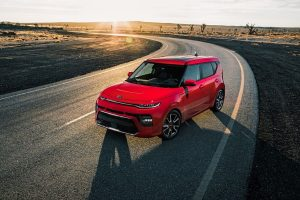 Red 2020 Kia Soul parked on road from exterior front drivers side