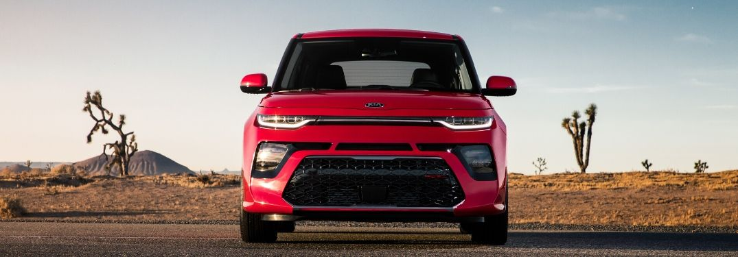 Red 2020 Kia Soul from exterior front