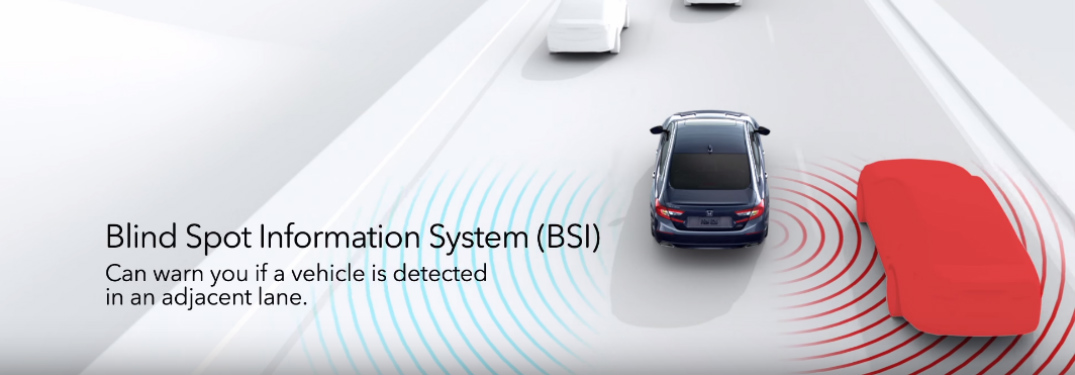"graphic of cars on a highway with the Honda detecting a blind spot vehicle using radar and with text that says, ""Blind Spot Information System (BSI) can warn you if a vehicle is detected in an adjacent lane."""