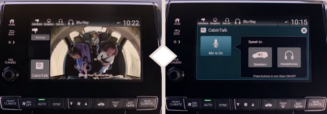 side by side vehicle touchscreen displays with the left one showing Honda's CabinWatch feature and the right one showing Honda's CabinTalk feature