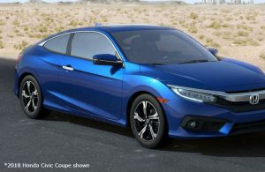 2018 Honda Civic Coupe parked on a desert road