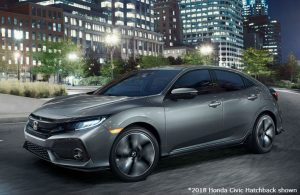 2018 Honda Civic Hatchback parked at night in a city