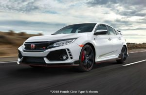 2018 Honda Civic Type R driving on a race track in a desert