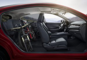 2019 Honda HR-V profile view of seating with bike in second-row