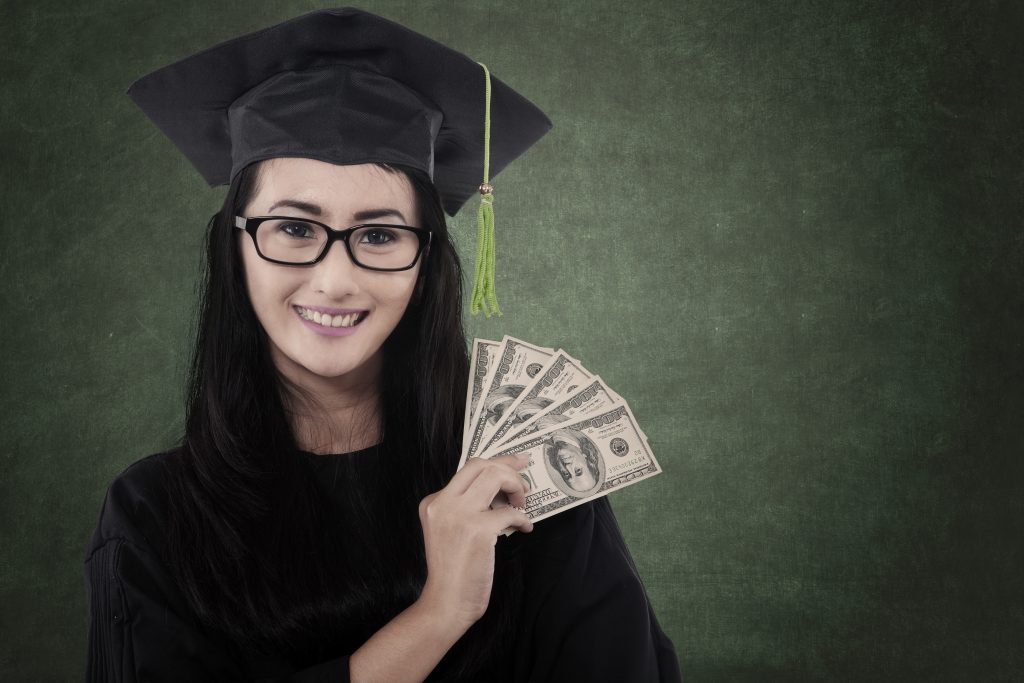 Beautiful graduate student get money as a gift